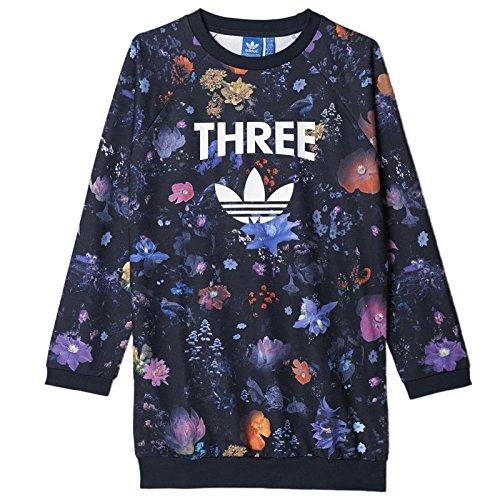 adidas ORIGINALS FLOWER TREFOIL MÄDCHEN KINDER LONG SWEATSHIRT BLÜTEN BLUMEN, Größe:116, Farbe:Mehrfarbig (Adidas Kinder Blume)