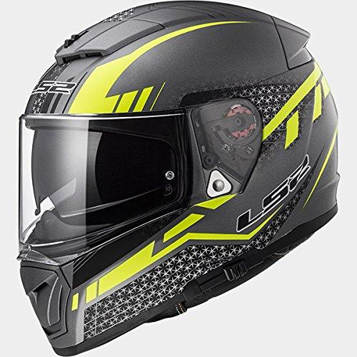 LS2 FF390 BREAKER DIVISO Bluetooth Pronto (Non incluso) Doppia Visiera Casco moto Integrale Integrali - Titanio Opaco Giallo XL (61-62cm)