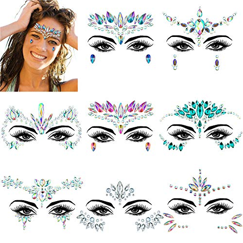 ZWOOS Joyas Pegatinas Cara, Face Gems Stickers, Tatuajes Cristal Temporales Pegatinas, Face Jewels para Fiestas Shows Make Up Maquillaje (8 Piezas)
