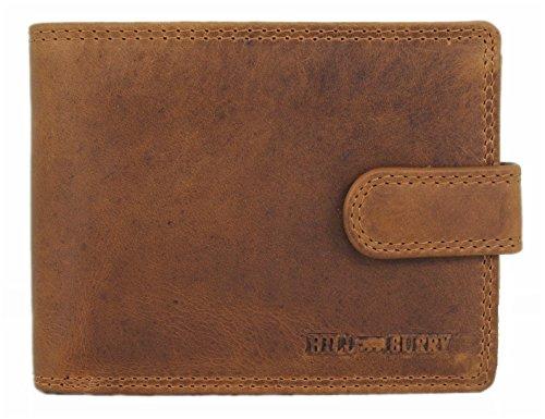 Geldbörse Herren Leder Portemonnaie kompakte Brieftasche Portmonee Geldbeutel Kreditkartenetui Wallet Vintage Organizer Reisebrieftasche Hill Burry aus hochwertigem Echt-Leder Querformat braun 6404LQ