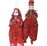 #6: Rajasthani Ethnic Wooden Puppet Dolls Pair Face String kathputli For Home Décor
