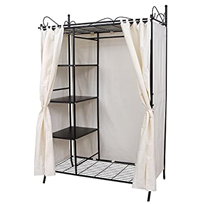 Songmics Wardrobe Clothes Cupboard Hanging Rail Storage Shelves with Metal Frame and Cover 108 x 170 x 58 cm RTG03H - cheap UK wordrobe shop.