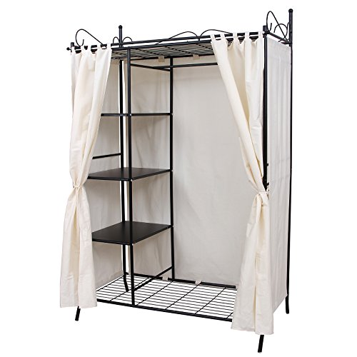 Songmics wardrobe clothes cupboard hanging rail storage shelves with metal fr - Housse armoire penderie ...