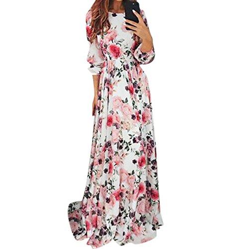 Damen Kleider Frauen Dress Sommerkleider Vintage Boho Maxikleid Ärmelloses Beiläufiges Strandkleid Blumenkleid Abendkleid Floralen Druck Minikleid Partykleid Cocktailkleid (XL, Sexy Mehrfarbig)