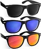 UVprotect Sonnenbrille retro Design verspiegelt Schwarz Aset W02