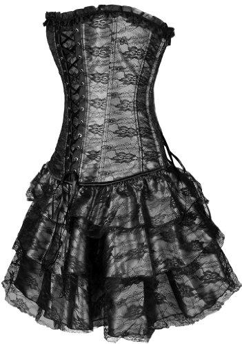 Bettydom Damen Partykleid Gothic Korsett mit G-String Korsagen Schwarz
