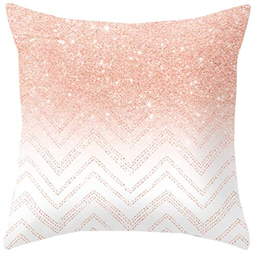 Yazidan Rose Gold Rosa doppelseitiger Kissenbezug Home Decoration Auto-Sofa-Kissenbezug Kissenbezug Platz Haus Dekoration Mikrofaser Einfache Farbe Protektoren 45x45cm (Kissenbezug Mikrofaser-rosa)