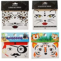 Spestyle tattoo stickers 4pcs face stickers in 1 package, it including leopard face sticker,pirate face sticker,tiger face sticker and cat face sticker.