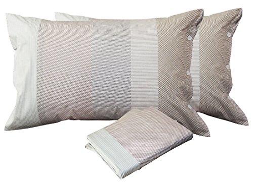 Lenzuolo completo astrea beige matrimoniale zucchi collezione easy chic -tessuto percalle 70 fili puro cotone