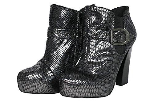 Replay Prais Plateau Stiefeletten High Heels Ankle Boots Damen Silber