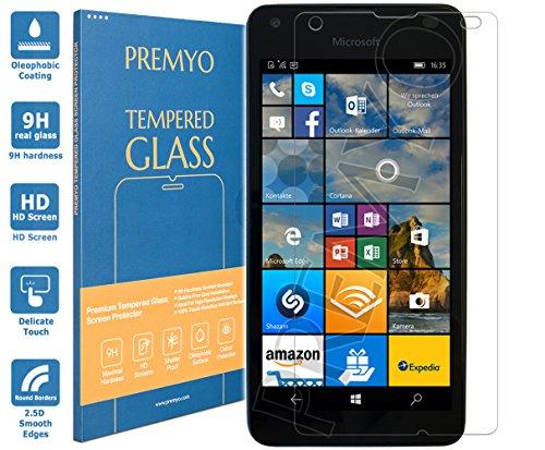 PREMYO Panzerglas Schutzglas Bildschirmschutzfolie Folie kompatibel für Microsoft Lumia 550 Blasenfrei HD-Klar 9H 2,5D Gegen Kratzer Fingerabdrücke