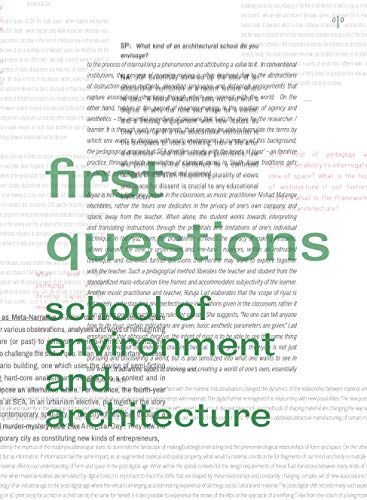 First Questions, School of Environment and Architecture