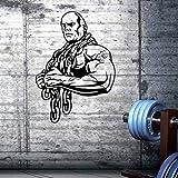 Auto Gym Sticker Ironmen Fitness Cadena de Hierro Mancuerna Decal Body-building Posters Tatuajes de pared Decoración Gym Sticker 42x58cm