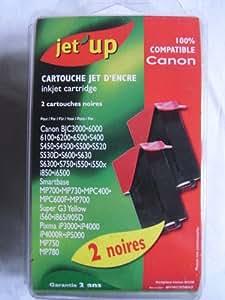 JET'UP - 2 Cartouches jet d'encre noires compatible CANON BCI-3B