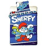 Unbekannt Faro Original Disney die Schlümpfe The Smurfs SMERFY Bettwäsche Bettgarnitur 160x200 Öko Tex Baumwolle, Mehrfarben, 200 x 160 cm