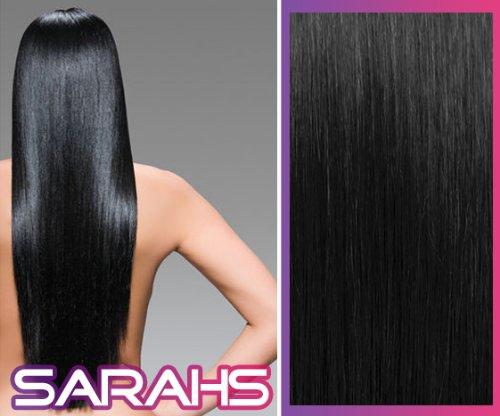 Clip-In-Extensions für komplette Haarverlängerung - hochwertiges Remy-Echthaar - 120 g - 50 cm - Tiefschwarz - 1 -