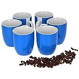 Van Well 6er Set Kaffeebecher Serie Vario Porzellan - Farbe wählbar, Farbe:blau