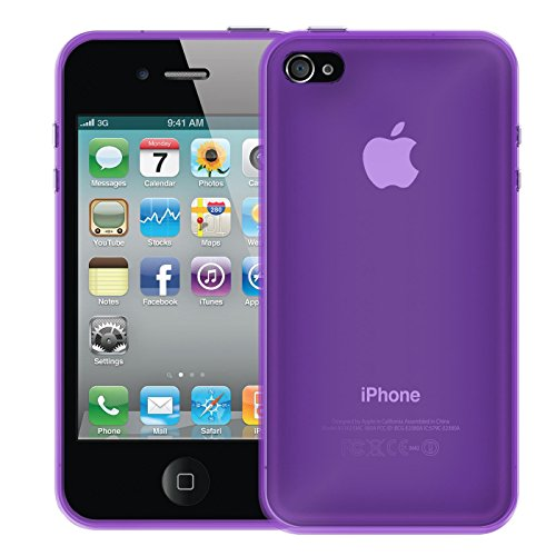 iPhone 4S , 4 Soft Silikon Case, Conie Mobile Klare Hülle, Crystal Clear Premium TPU Rückschale in Transparent Lila