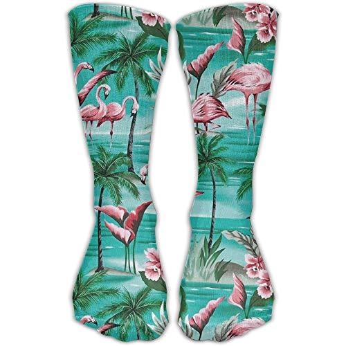 UFHRREEUR Unisex Casual Crew Socks Flamingo Palm Tree Fashion Novelty ()
