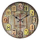 Amovz Wall Clock Reloj de Pared Antiguo, silencioso y sin Reloj Decoración de Reloj - Operación con batería de Cuarzo Estilo Antiguo Antiguo y Colorido de París
