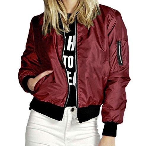 Donne Autunno Inverno Manica Lunga Zip Boyfriend Unisex Blazer Di Baseball Bomber Giacca Cappotto Felpa Outwear Camicetta Coat Top Rosso