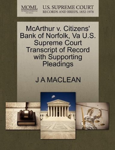 mcarthur-v-citizens-bank-of-norfolk-va-us-supreme-court-transcript-of-record-with-supporting-pleadin