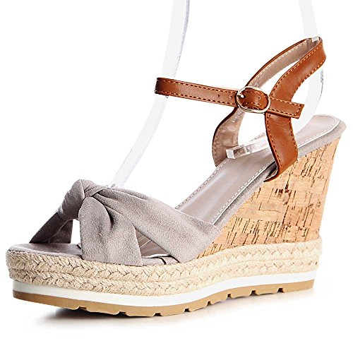 Damen Sandaletten Sandalen Keilabsatz 1167 Grau