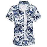 MOGU Casual Stampa Floreale Moda Hawaiana Slim Fit Maniche Corte Camicie Uomo IT M (Asian L) Blu