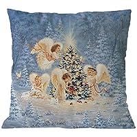99native 2019 Taie d'oreiller de décoration de Noël,Coton Doux en Lin Couvre-Lit Taie d'oreiller Canap¨¦ Voiture Housse de Coussin Home Decor Lit 45 cm x 45 cm (Ange de Noel)