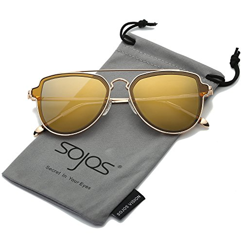 Sojos vogue retrò doppio metalloponte aviatore polarizzate occhiali da sole unisex per uomo donna sj1051 con oro telaio/brown polarizzate lente