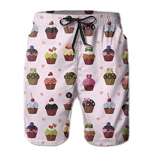 Men's Shorts Swim Beach Trunk Summer Cupcakes Cartoon Cute Athletic Classic Shorts with Pockets - XL - Girl Carters Cupcake