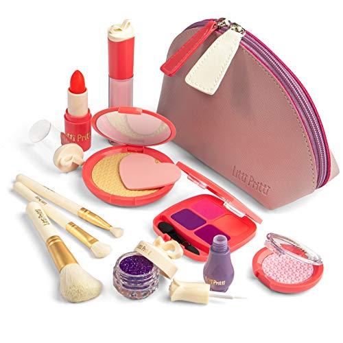 Litti Pritti Vorgeben Make-Up Für Mädchen Set - 11 Stück Kosmetische Play Schminkset - Pu-Leder-Etui