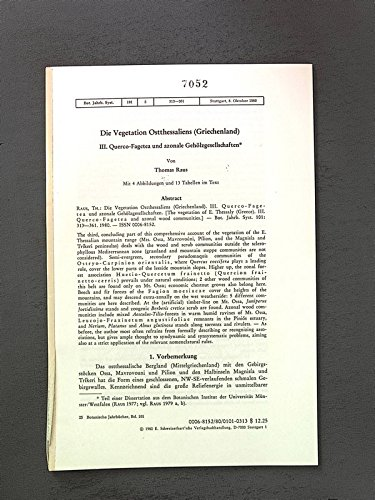 Die Vegetation Ostthessaliens (Griechenland) III. Querco-Fagetea u. azonale Gehölzgesellschaften. Bot. Jhb.Syst., 101, 3, 313-361