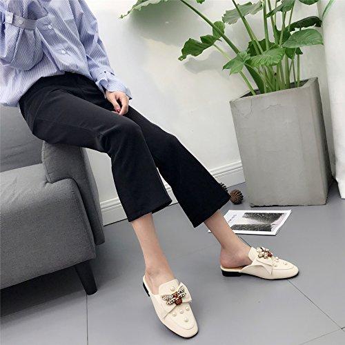 GTVERNH-in primavera le scarpe basse merchandiser bee pearl scarpe a piazza drag baotou femmina sono pigro pantofole,37 Thirty-seven