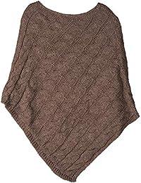 styleBREAKER poncho in maglia con motivo intrecciato, poncho in maglia girocollo, maglia larga, donna 08010040