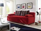 N-Motion 403 Doppelschlafsofa, hochelastischer Kaltschaum, Bezugsmaterial aus Stoff, rot/Silber/schwarz, 200 x 70 x 25 cm
