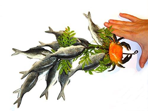 Bündel Sardinen mit Krebs aus Kunststoff - Dekoattrappe, Lebensmittelnachbildung, Fake Food, Deko, Meerestier Attrappe, maritime Dekoidee
