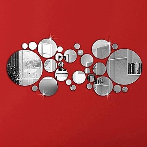 Espejo redondo ajuste pared adhesivo decoración del hogar