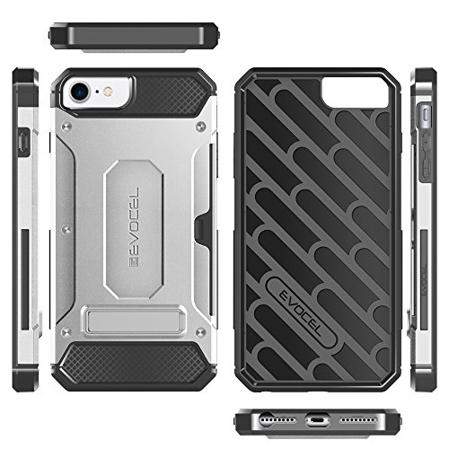 iPhone 7 / iPhone 6 Case, Evocel [Explorer Series Pro] Premium Dual Layer Hybrid Protector [Metal Kickstand][Credit Card Slot] For iPhone 7 / iPhone 6 (4.7 inch) , Black (EVO-IPH7-CK01) Silver