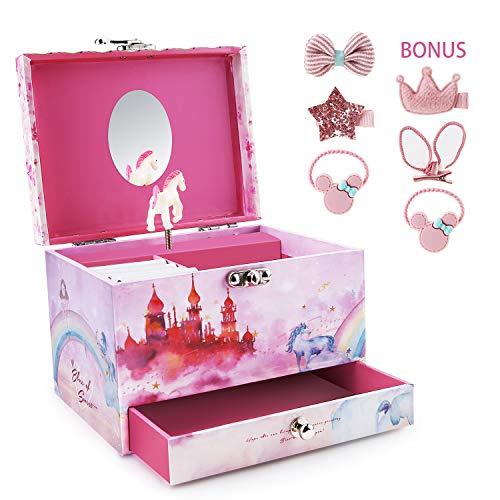 SpieluhrSchmuckkästchen, Abody Musikspieldose für Mädchen mit Schublade, Ringschlitze, Schmuckkassette mit mechanischer kleinen Karusellen (4 süße Clips und 2 Haarschleifen)