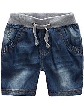 Jeans elásticos de los niños pantalones vaqueros del verano pantalones ajustables pantalones cortos Jeans bebé...