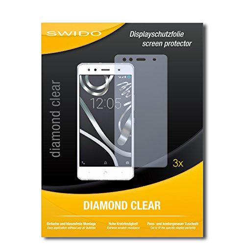 SWIDO 3 x Schutzfolie BQ Readers Aquaris X5 Bildschirmschutz Folie DiamondClear unsichtbar