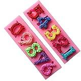 Yangge Yujum 0-9 Nombres Lollipop Moule en Silicone Sugarcraft Biscuit Cookie Petit gâteau de décoration Moule Outils