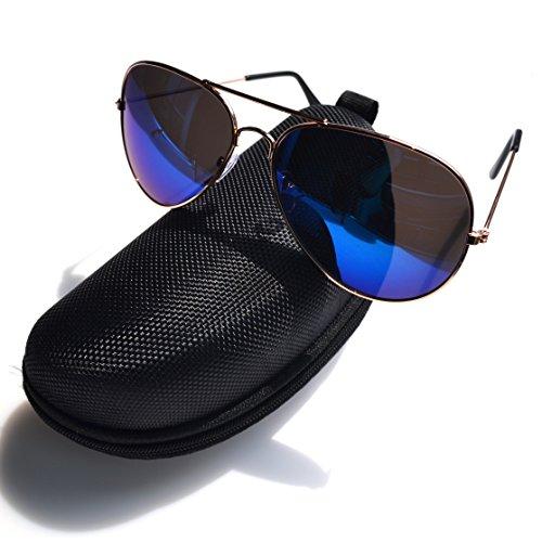 Aviator Sonnenbrille - Doppelte Brücke Metall Pilot Sonnenbrille Männer und Frauen Uv400 Linsen Aviator Sonnenbrille für Außen Sport, Fischen, Golfen und Fahren (Blau)