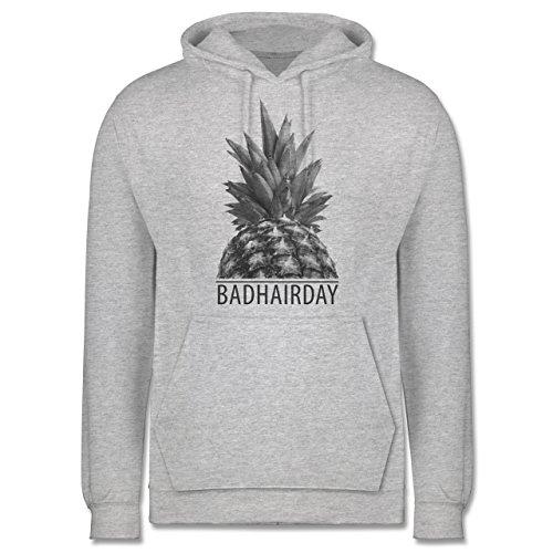 Statement Shirts - Badhairday - Ananas - Männer Premium Kapuzenpullover / Hoodie Grau Meliert