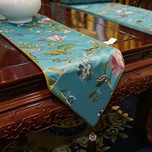 Moderner Minimalistischer Bestickter Blumen-Tischläufer, Fransed Tablecloth, Home Decor Party Hochzeit Weihnachten | Geschenk (30x180cm, 30x200cm) ++ (Farbe : Light blue, Size : 30x200cm)