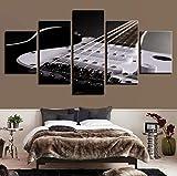 QThxqa Toiles affiches cadre de séjour Salon 5 unités guitares électriques peintures à cordes Instruments de musique images Wall art