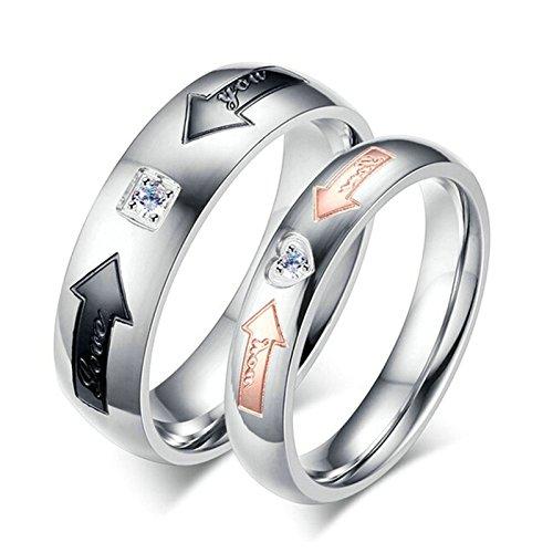Aooaz 2 anelli in argento coppie set di anelli donna uomo acciaio inossidabile cuore freccia love you anelli oro rosa anelli neri 4mm, 6mm donna 10 & uomini 22 con portagioie anelli fidanzamento