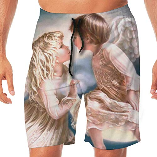 Funny Swim Trunks Men's Beach Pants Angel Kiss Quick Dry Beachwear Casual Athletic Water Pants,Breathable Quick-Drying Swim Trunks Beach Shorts Board Shorts L