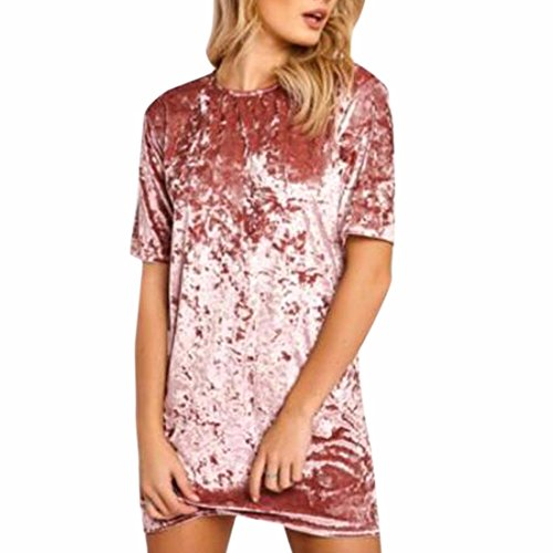 QIYUN.Z Les Femmes De La Mode À Manches Courtes Velours Doux Robe Mini Robe Rose